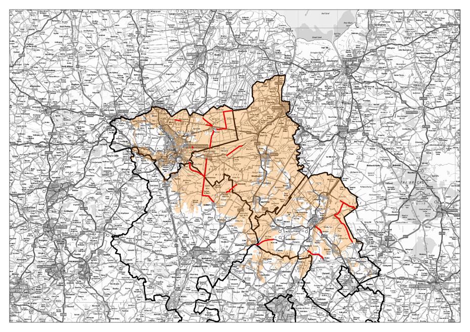 Map showing parts of Cambridgeshire affected by scheme