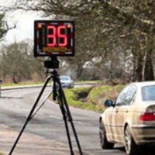 Community speed check on side of road