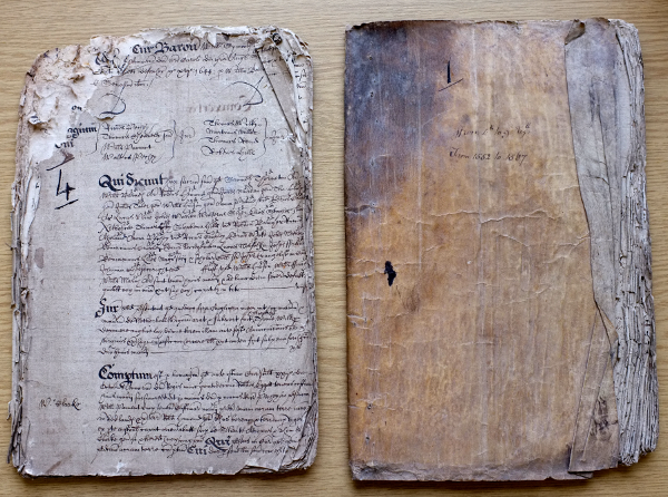 Image of court books detailing manorial events in Soham and Fordham