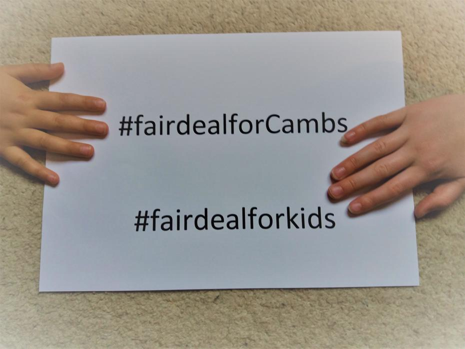 Hashtags for fair deal for Cambridgeshire and fair deal for kids campaigns