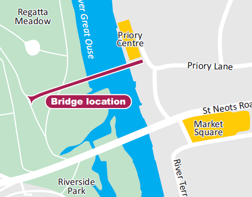 The bridge will cross the River Great Ouse from Regatta Meadow to Priory Lane
