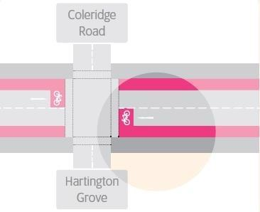 Diagram showing option one of Coleridge Road junction.