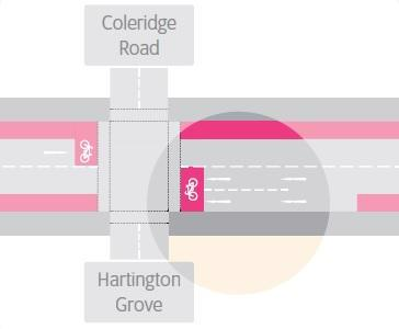 Diagram showing option two for Coleridge Road junction.