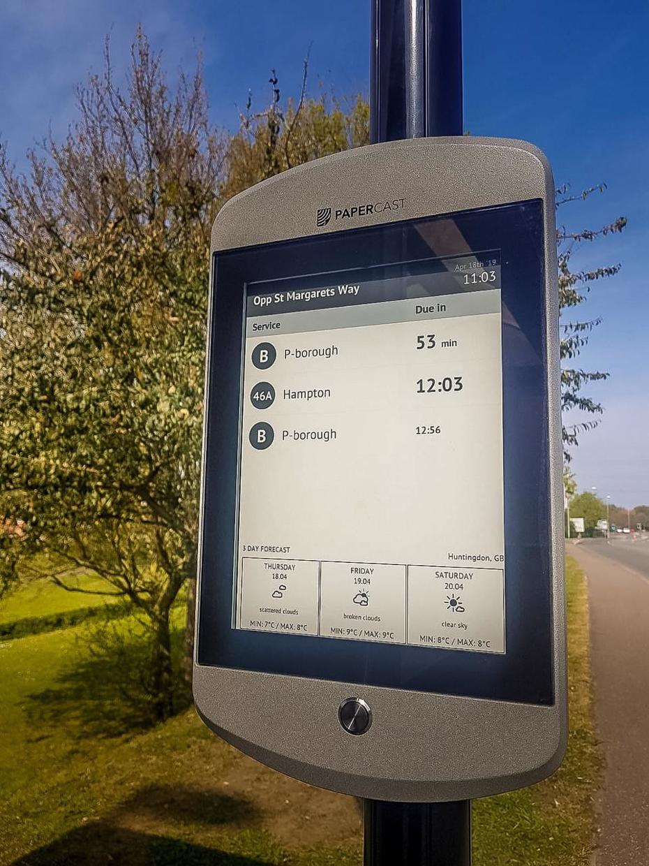 Solar powered e-ink technology bus timetable display