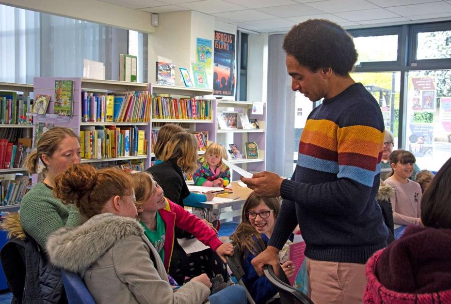 Photo of an author visit at a Cambridgeshire Library