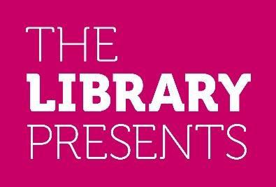 The Library Presents logo - pink and white.
