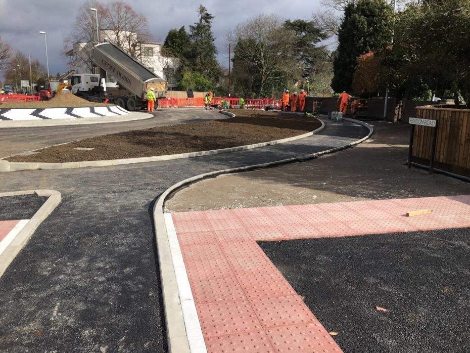 Construction work on the Fendon Road / Queen Edith's Way roundabout